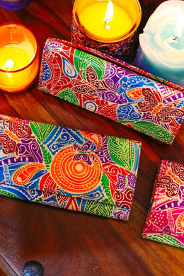 Assorted Handpainted Leather Foldover Wallet