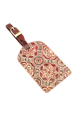 Assorted Handpainted Leather Mandala Luggage Tag