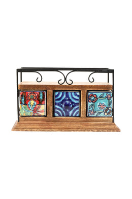 Handpainted Ceramic Three Drawer Box