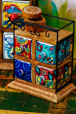 Handpainted Ceramic Four Drawer Box