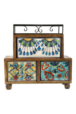 Handpainted Peacock Ceramic Three Drawer Box