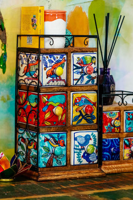Handpainted Ceramic Six Drawer Box