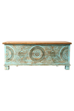 Teal Carved Antique Chest