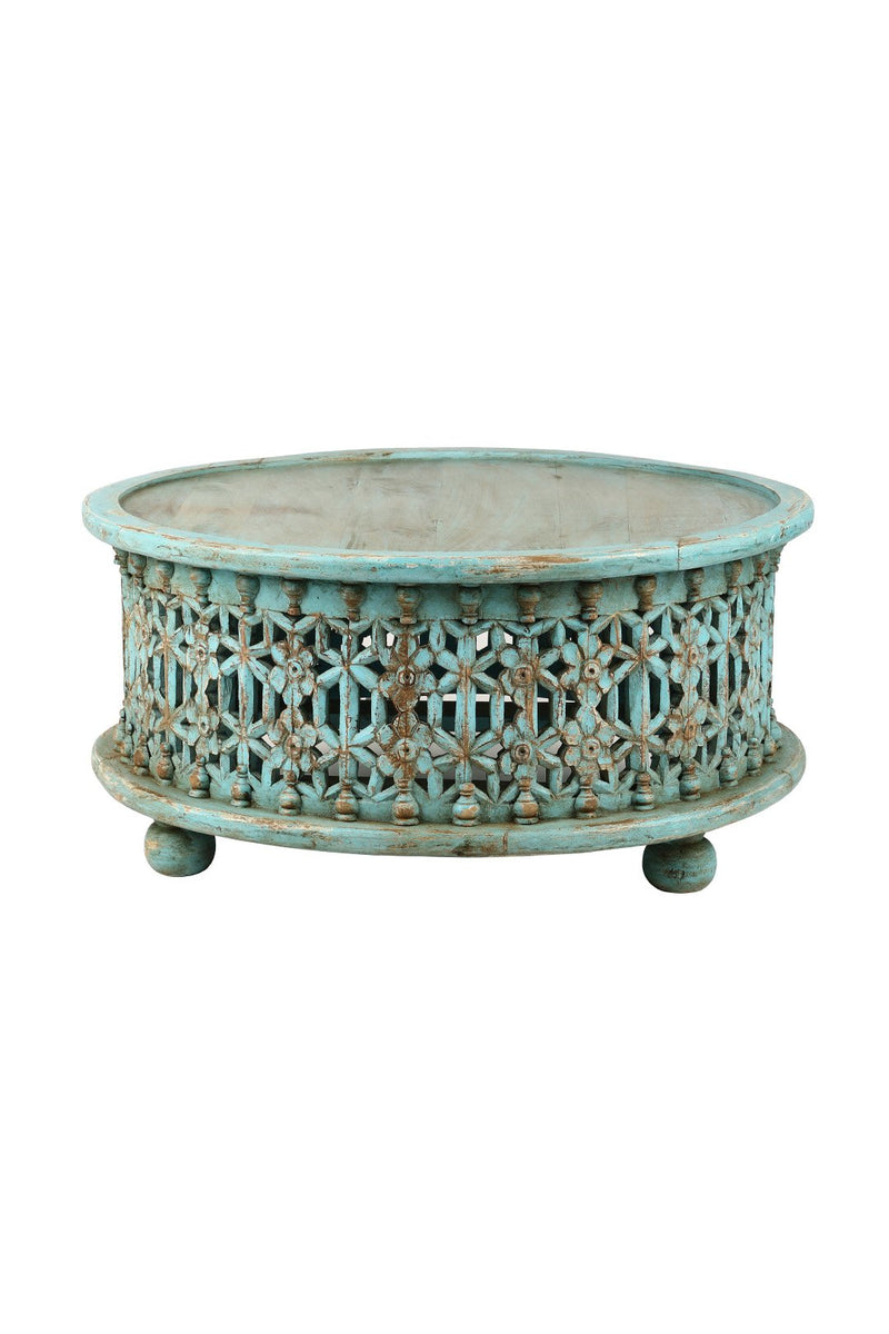 Round Carved Flower Coffee Table