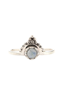 Rainbow Moonstone Fine Crowned Silver Ring
