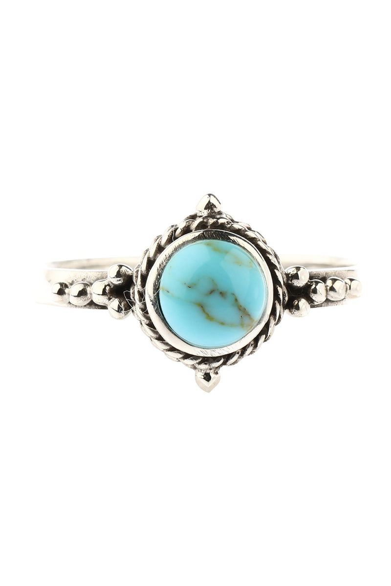 Tribal Turquoise Oval Silver Ring