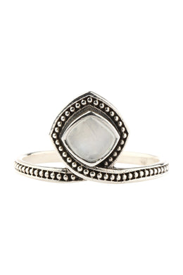 Rainbow Moonstone Cushion Wrapped Silver Ring