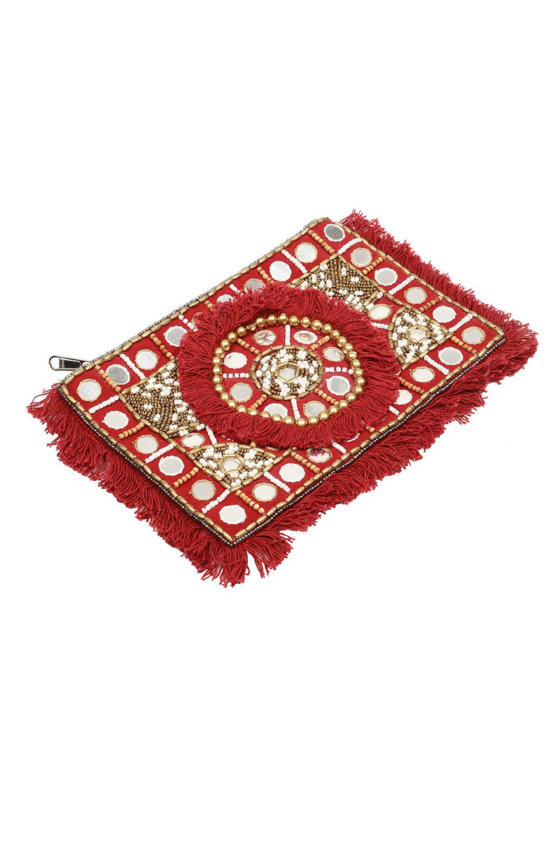 Mirror Beads Fringed Clutch