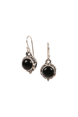 Round Cabochon Silver Earrings
