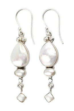 Circle Square Teardrop Silver Earrings
