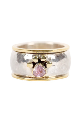 Gold Plate Amethyst Pebbled Silver Ring