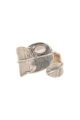 Gold Plated Feather Wrap Silver Ring