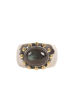 Gold Plate Dot Pebbled Silver Ring