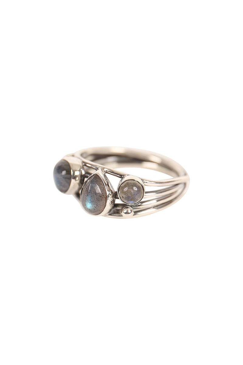 Wrapped Multi Stone Silver Ring