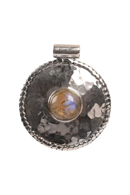 Labradorite Round Shield Pebbled Silver Pendant