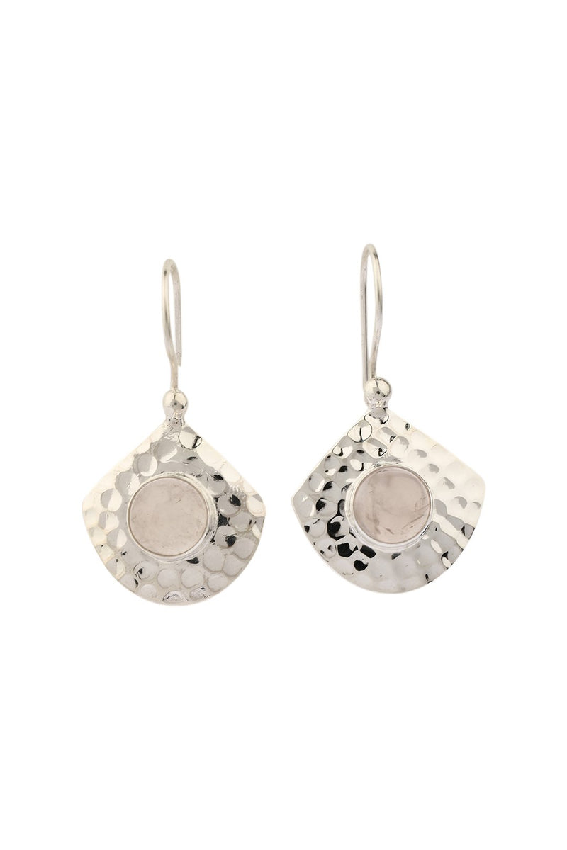 Gemstone Pebbled Silver Shield Earrings