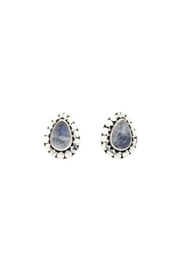 Rainbow Moonstone Teardrop Stud Silver Earrings
