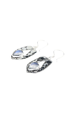 Rainbow Moonstone Flat Dot Silver Earrings