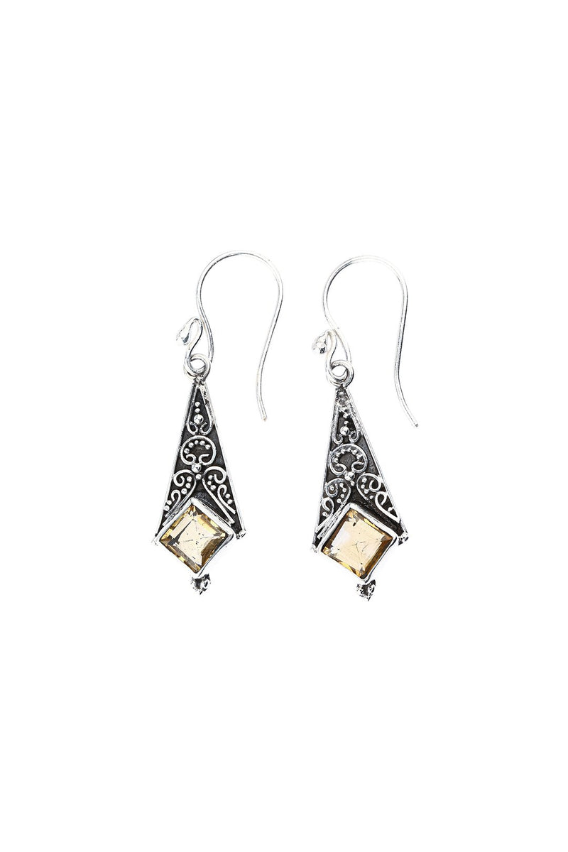 Citrine Square Faceted Silver Earrings
