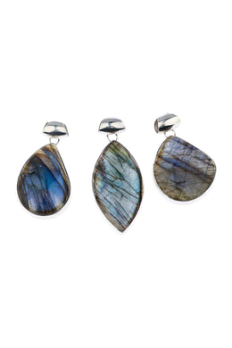 Assorted Labradorite Long Silver Pendant