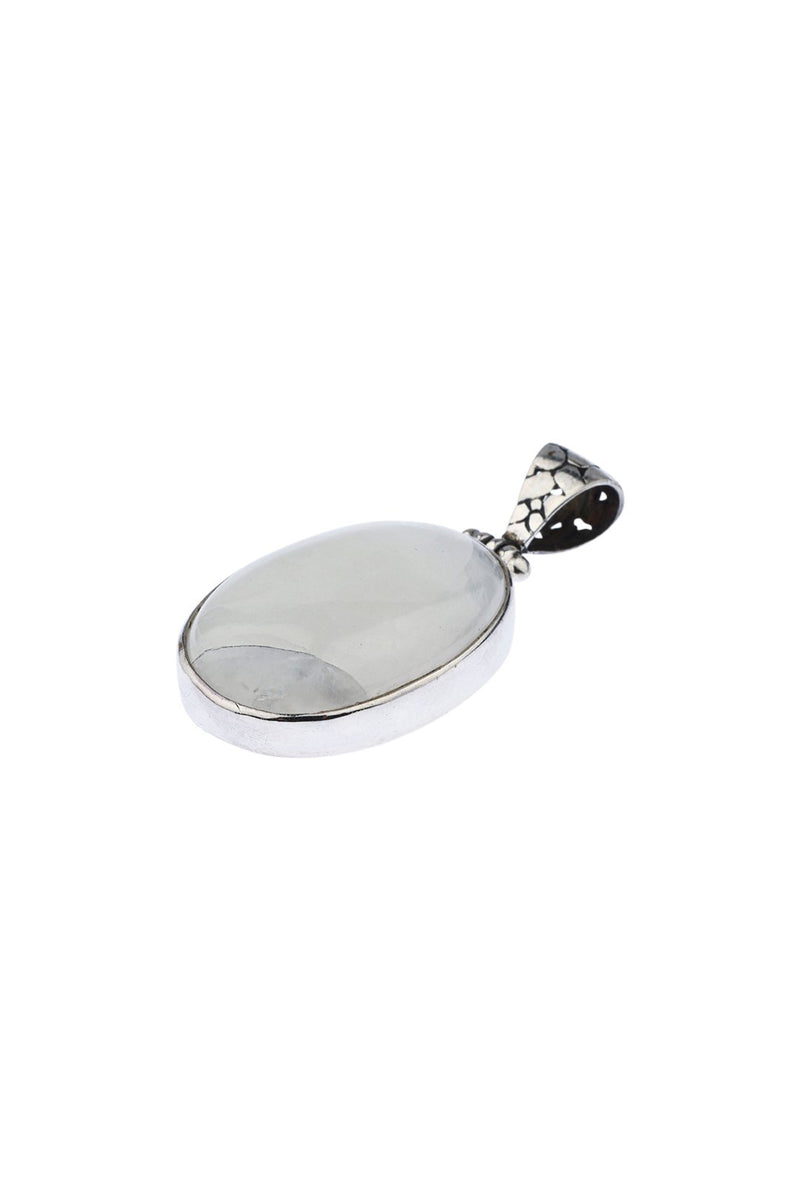 Rainbow Moonstone Simple Silver Pendant