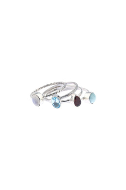 Gemstone Silver Ring Stack