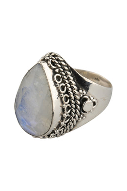 Statement Teardrop Rainbow Moonstone Silver Ring