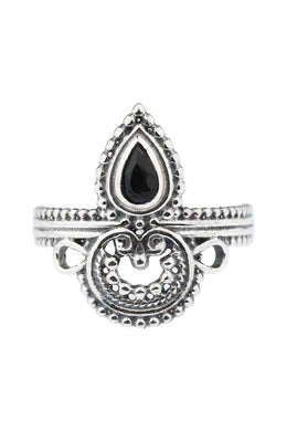 Ornate Handworked Black Onyx Silver Ring