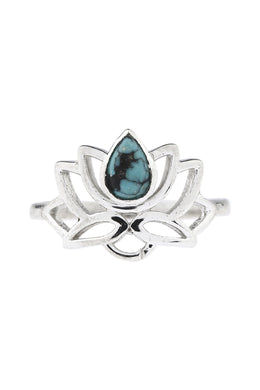 Open Lotus Turquoise Silver Ring