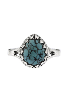 Teardrop Turquoise Ornate Silver Ring