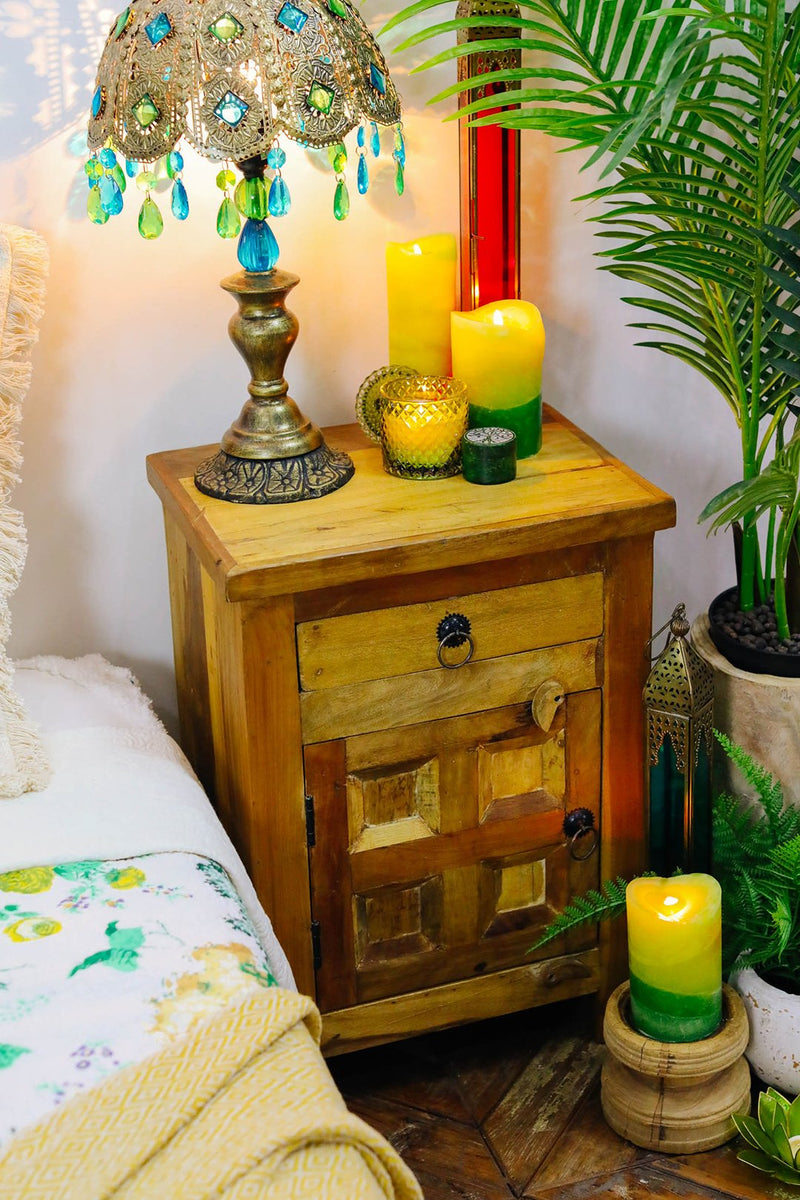 Recycled Wood Bedside Cabinet