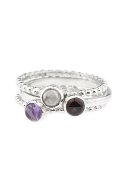 Garnet Rose Quartz & Amethyst Stack Silver Ring