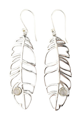 Moonstone Feather Outline Silver Earrings