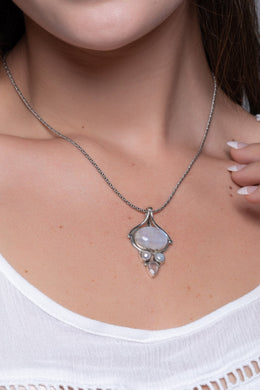 Statement Gem Pearl & Rose Quartz Silver Pendant