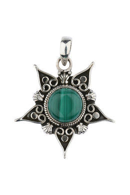 Tribal Malachite Star Silver Pendant