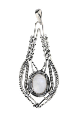 Otherworldly Moonstone Ornate Silver Pendant