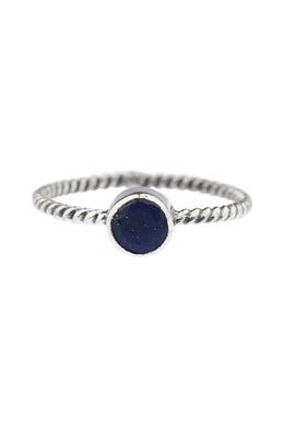 Lapis Twist Band Silver Ring