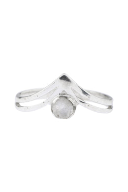 Moonstone Double Point Silver Ring