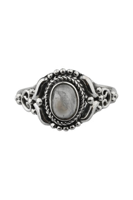 Moonstone Ornate Band Silver Ring