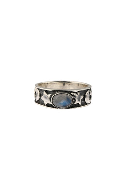 Moon & Stars Rainbow Moonstone Oxidised Silver Ring