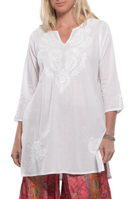 Hand-Embroidered Tunic Top