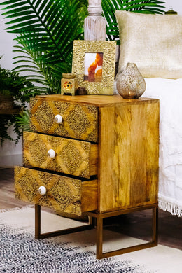 Gold Leaf Bedside Drawers