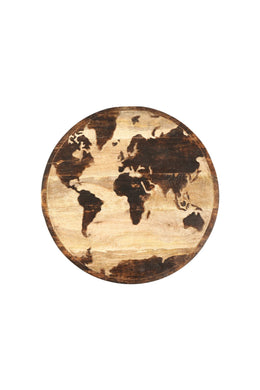 Carved Round World Map Wall Art