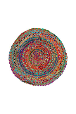Round Jute & Cotton Multicolour Rag Rug