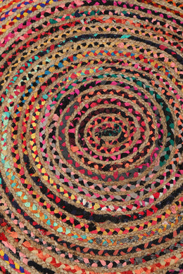 Large Round Jute & Cotton Multicolour Rag Rug