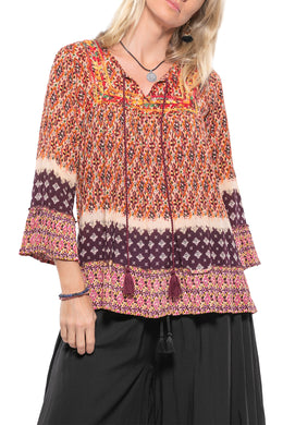 Floral Tasselled Peasant Top