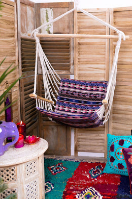 Purple Aztec Print Hammock Hanging Chair