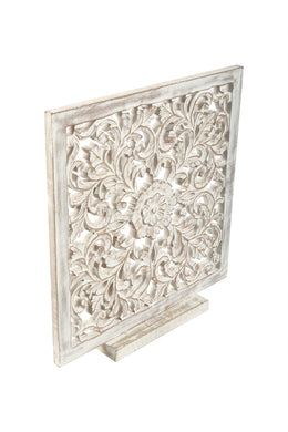 White Wash Square Carved Decor