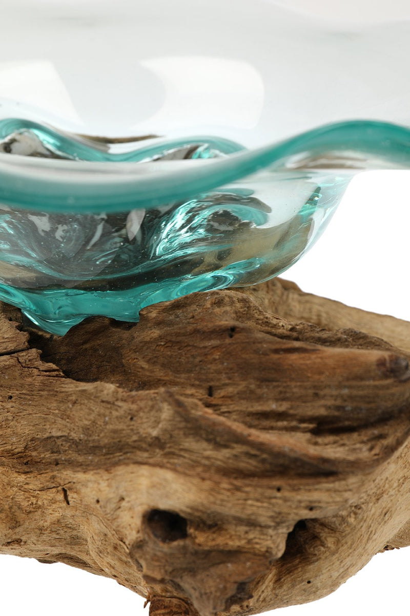 Recycled Glass Dish on Tree Root