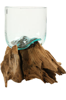 Extra Large Recycled Glass Vase on Tree Root
